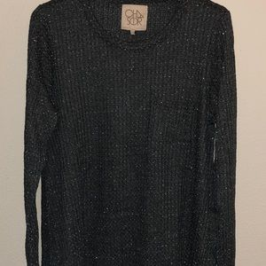 Chaser sparkle thermal top shirt size medium new